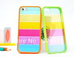 HOT! 10pcs/lot fashion PC + TPU Rainbow Hard Back Case for iphone 5 5G free shiping(China (Mainland))