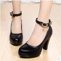 FREE SHIPPING genuine leather sexy buckle top grade cow leather high-heeled shoes work shoes
