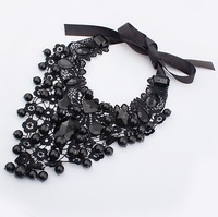 Min Order 15$ Free Shipping 2013 Newest Popular Lace Black Resin Necklaces Good Quality Wholesale Hot HG0214
