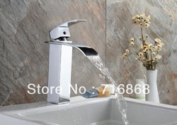 Morden style waterfall spout faucet Hot and Cold Device chrome finish Bathroom Basin Sink Mixer Tap G-078(China (Mainland))
