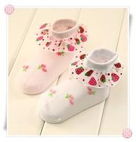 girls socks Baby summer thin mesh girls child socks laciness children boneless children's clothing strawberry sock, 5 pairs/lot