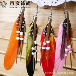 Indian amorous feelings beautiful color millet bead feather earrings(China (Mainland))