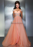 2013 Free Shipping Chiffon Long Formal Evening Dress Crystal Cap Sleeve