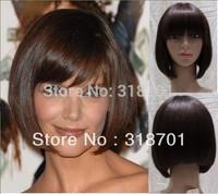 100% Human Hair Straight Bob Haircut Wig about 8 Inches(Free Shipping)