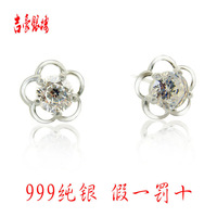 999 pure silver stud earring Women fashion accessories hearts and arrows cubic zircon earrings anti-allergic stud earring