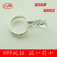 [Free shipping] 999 pure silver earrings the elderly 999 flatworm fine silver earrings hoop earrings birthday gift