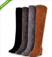 Fashion Women's Faux Suede Over the Knee Flat Tall Knight Boot Plush Snow Boots