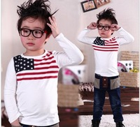 2013 Spring Children's new long-sleeved flag Korean version  casual boy T-shirt   Free Shipping