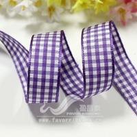 Purple Ribbon 16mm plaid belt plaid belt diy hair accessory ribbon