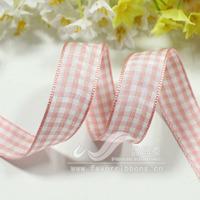 Ribbon 16mm plaid belt plaid belt diy hair accessory ribbon pink 15 50