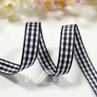 Ribbon 9mm plaid belt plaid belt diy hair accessory ribbon black white check 12 50