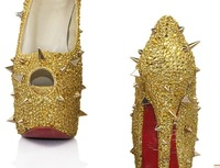 Free shipping,with sexy rhinestone and rivets high heel shoes,16cm heel,pumps,sandal,size us 4 to 14( eur 35 to 46),party shoes!
