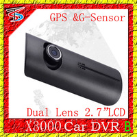 2013 New Design Dual Lens( GD-01.11)+ 2.7 LCD + GPS Logger  G-Sensor ! X3000 Wholesale car cam