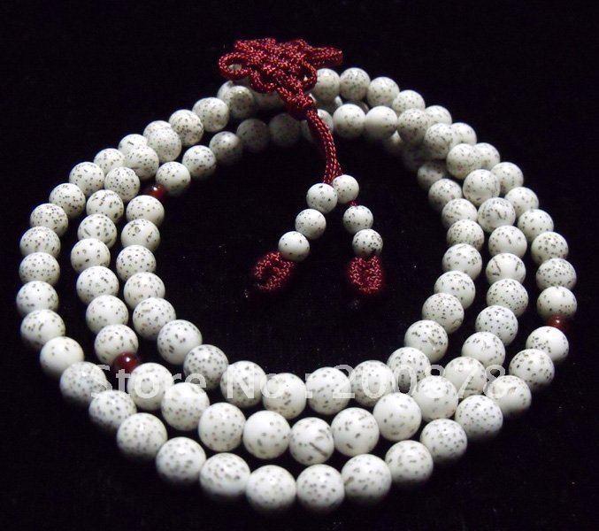 Bro968 budista 108 brancos Starmoon Bodhi sementes rosário 10 mm de madeira contas de oração mala(China (Mainland))