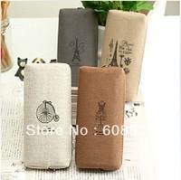 Free shipping Cute Creative Brand New Soft Canvas Pencil Case/Pencil Bag/Pen Pocket/Cosmetic Bag-4colors Wholesale