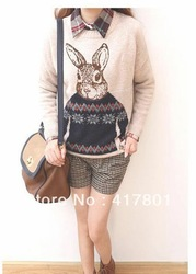 Free Shipping Fashion Woman Sweater Outswear T-Shirt For Spring and Autumn Best Quality Beige Color(China (Mainland))