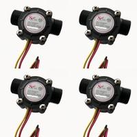 4pcs Water flow sensor flowmeter Hall flow sensor Water control 1-30L/min 2.0MPa