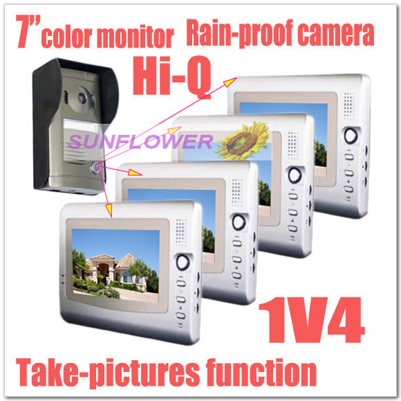 "1v4 Classical Take photos 7"" color video intercom systems/door phones /door bells & rainproof (4 monitors+1 camera) Dropshipping(China (Mainland))"