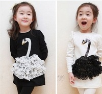 5pcs/lot free shipping girls long t-shirt legging set ,girl's swan dress set,child girl swan dress