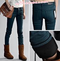2012 women's plus size elastic boot cut jeans plus cotton thickening jeans skinny pants pencil pants plus velvet multicolour