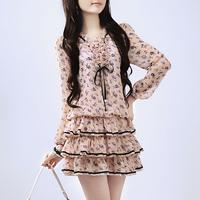 2013 spring long-sleeve plus size chiffon one-piece dress female spring ol elegant cake basic skirt/185