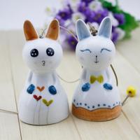 FREE SHIPPING!!!Ceramic crafts, Cute cartoon rabbit wind chimes pendant