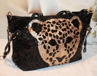 2013 HOT SALE high quality paillette rhinestone leopard head women bag Genuine leather rivet fashion handbag Promotion!