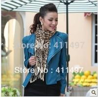 Women Classic Designer Leather Jacket /High Quality Genuine Leather Motobike Cycle Short Jacket Jacket S/M/L/XL Blue,red,black