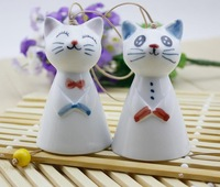 FREE SHIPPING!!!Ceramic crafts, Cute cartoon cat wind chimes pendant