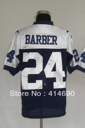 Free Shipping Wholesale&amp;Retail Throwback American Football Jerseys #24 Marion Barber Jersey Embroidery Logo Mixed Order(China (Mainland))