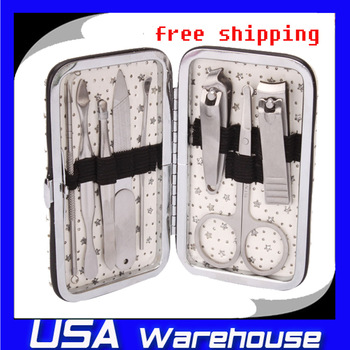 Free shipping on sale High quality 8pcs Stainless Steel Nail Clippers Manicure Set with White Case ship  from USA