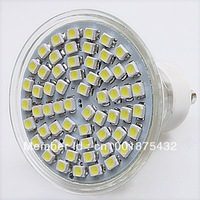 Free Shipping 2pcs New GU 10 LED 3528 60 SMD Pure/ Warm White LED High Power Spot Light  630035
