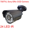 Outdoor 700TVL CCTV 1/3&quot; SONY Effio CCD 24 IR Waterproof Security Camera 3.6mm Lens