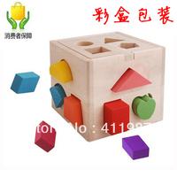 chirdren 13 intellectual box preschool puzzle blocks toy color shape wood ty023