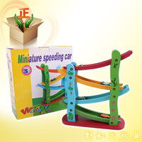 Toy ladder gliding car engineering children car wooden educational toy set miniature speeding car ty025