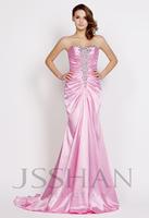 12P074 Strapless Rhinestoned Ruching Mermaid Satin Gorgeous Luxury Unique Brilliant Prom Evening Dress Fancy Dress Party