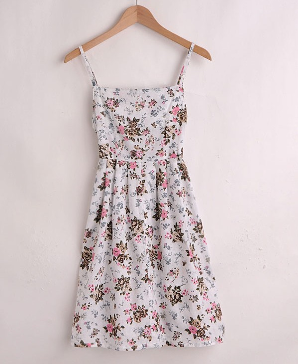 New summer of 2013 female models crochet trim floral cotton harness dress(China (Mainland))