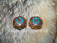 DIY Loose Beads  NBB191   Nepali brass capped Honeywax amber loose beads,24*13mm,Handmade jewelry loose beads