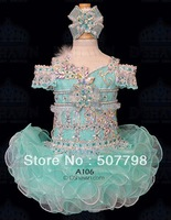 custom made off the shoulder organza two toned crystals girl cupcake pageant dress