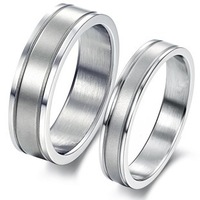 GJ336 New Arrival Fashion Titanium 316L Stainless Steel Couple's Ring Simple Style Highly Polished