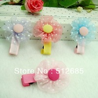 {Min.Order $15}20pcs/Lot 2013 New Kids/Girl/Princess/Baby Dot Yarn Flower Hair Clip/Hair Accessories Color Mix