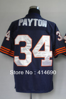 Free Shipping Wholesale&Retail Throwback American Football Jerseys #34 Walter Payton Jersey Embroidery Logo Mixed Order