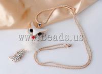 FREE SHIPPING Women Vintage Jewelry Gold Plated  Austria Rhinestone Fox Pendant Chain Sweater Long Fashion Necklace
