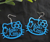 (Min order is $10 ) shipping free Lady's Cute BLUE HELLO KITTY  Words Chandelier Popular Earrings 2013 HOT