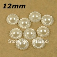 Free shipping 12mm 1000pcs/lot cream white color sunflower shape craft flatback imitation pearl beads