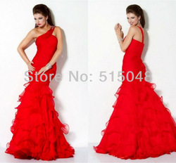 The Long Provides Beautiful Prom Gowns One Shoulder Ruffles Organza Red Prom Dresses 2013(China (Mainland))