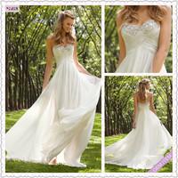 New Arrivals Sweetheart Off-shoulder Floor-Length White Chiffon beadings wedding dress 2014