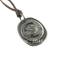 mens charm choker Head portrait metal pendant Genuine leather necklace p476