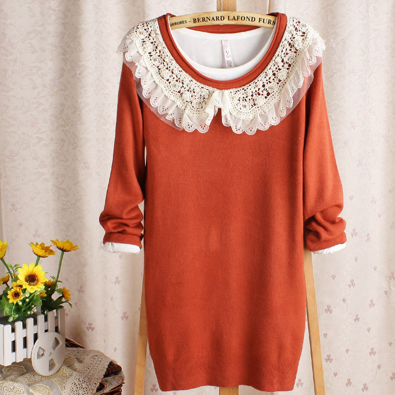 free shipping Lace baby doll crochet medium-long sweater 2012 women's basic shirt(China (Mainland))
