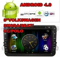 Free Shipping Android 4.0 8inch 2Din Car Video Player For VW SKODA/SEAT/CC/POLO 2006-2012(PIP,3D UI,GPS,TV,WIFI,3G,BT,IPOD,RDS)